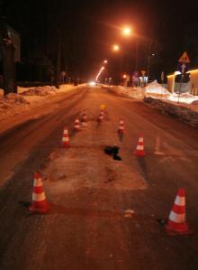 Zapada się asfalt na Sudeckiej