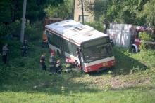 Autobus  wypadł z trasy