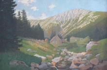 Georg Trautmann (1865-1935), Karkonosze latem,l. 90. XIX w., olej, tektura
