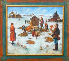 """W tym roku licytujemy """"Magiczną studnię"""" - olej na płótnie  formatu 80x70 cm, oprawiony w drewnianą, ręcznie zdobioną ramę"""
