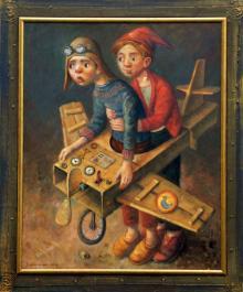 """W tym roku licytować będziemy """"Lotników"""" - olej na płótnie  formatu 80x100 cm, oprawiony w drewnianą, ręcznie zdobioną ramę."""