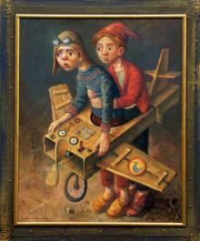 """W tym roku licytujemy """"Lotników"""" - olej na płótnie formatu 80x100 cm, oprawiony w drewnianą, ręcznie zdobioną ramę."""