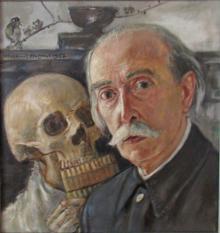 Wlastimil Hofman - Autoportret z czaszką  (ze zbiorów Muzeum Karkonoskiego w Jeleniej Górze)