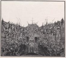 """Józef Gielniak, """"N. B. O. G. z B., Sanatorium VII"""", 1964, linoryt, bibułka japońska / Muzeum Karkonoskie w Jeleniej Górze"""