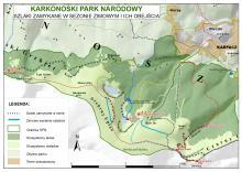 Mapka szlaków zamykanych na okres zimowy. Fot. KPN