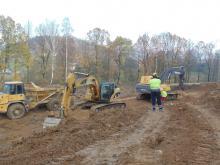 Prace na budowie obwodnicy Maciejowej