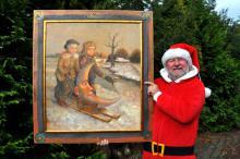"""W tym roku Darek Miliński przygotował na licytację obraz """"Dzieci z Pławnej"""" - olej na płótnie  formatu 70x80 cm"""