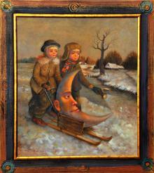 """Licytujemy obraz """"Dzieci z Pławnej"""" - olej na płótnie formatu 70x80 cm, oprawiony w drewnianą, ręcznie zdobioną ramę."""
