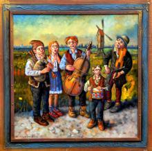 """Licytujemy """"Muzykantów z Pławnej"""" - olej na płótnie formatu 80x80 cm, oprawiony w drewnianą, ręcznie zdobioną ramę"""