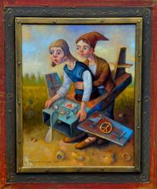 """Pod młotek idą """"Lotnicy pacyfiści"""" – olej na płótnie formatu 40x50cm oprawiony w ozdobną ramę, która także jest dziełem artysty."""