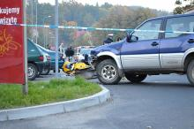 Wypadek: motocyklistka w szpitalu